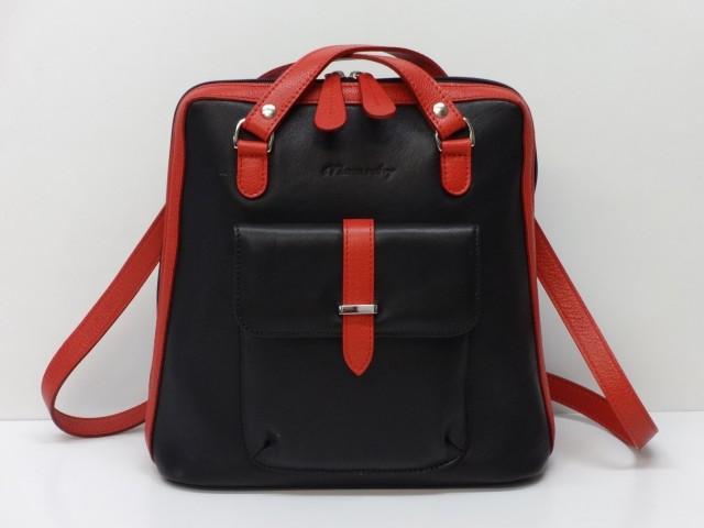 Bőr hátitáska  fekete-piros (Monarchy) - Csilla Bőrdíszmű webáruház 5e17057679