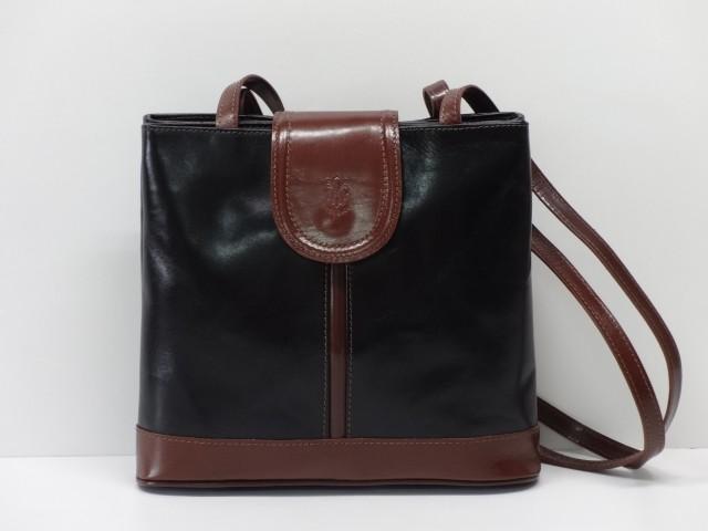 e6afd82ebf2c Női bőr táska, válltáska: fekete-konyakbarna - Csilla Bőrdíszmű ...