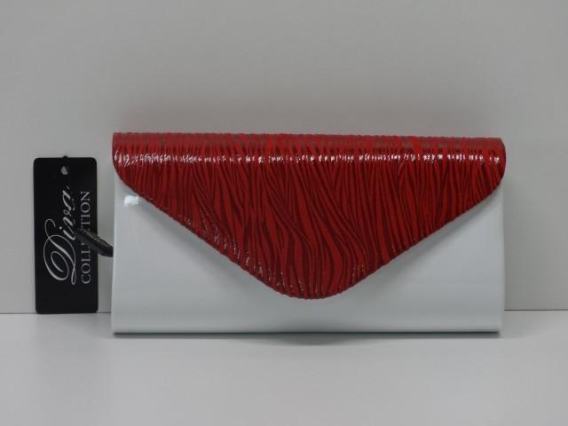 cdcae949f3 Borítéktáska: fehér-piros (Diva collection) - Csilla Bőrdíszmű webáruház