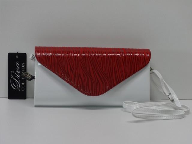 5240a38b77bc Borítéktáska: fehér-piros (Diva collection) - Csilla Bőrdíszmű webáruház