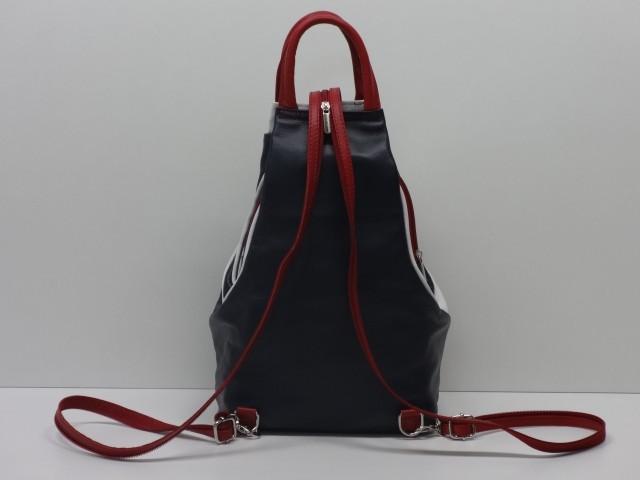 Bőr hátitáska  sötétkék-fehér-piros - Csilla Bőrdíszmű webáruház ea26083378
