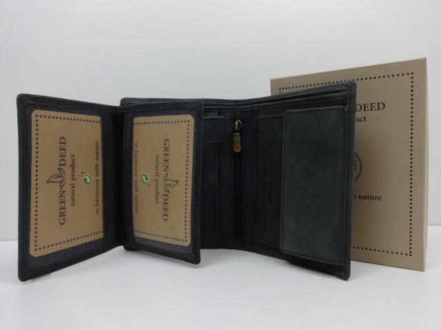 a67636c2f128 Férfi bőr pénztárca + irattartó: koptatott fekete (Green Deed ...