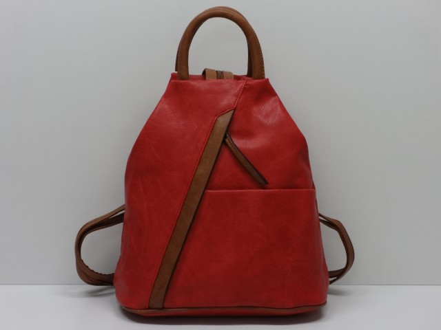 9c43a68b432d Hátitáska: piros-barna - Csilla Bőrdíszmű webáruház