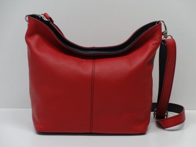 9b2360b023 Női bőr táska, válltáska: piros-fekete - Csilla Bőrdíszmű webáruház