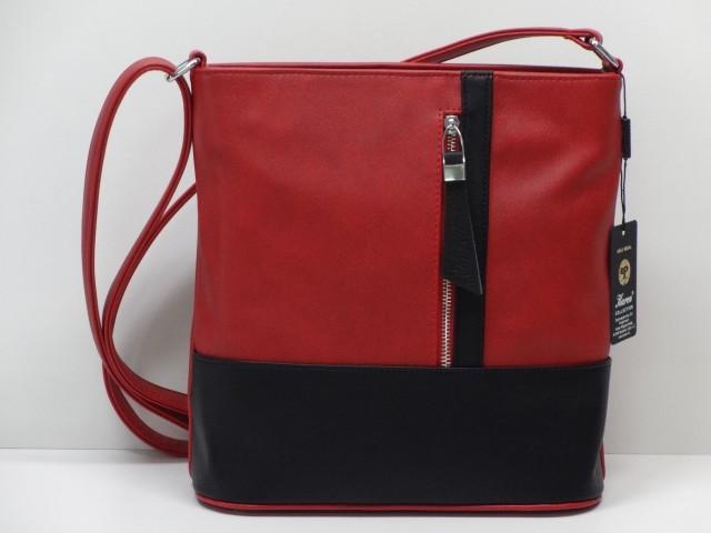 78f6b6d90b Női táska, válltáska: piros-fekete (Karen) - Csilla Bőrdíszmű webáruház