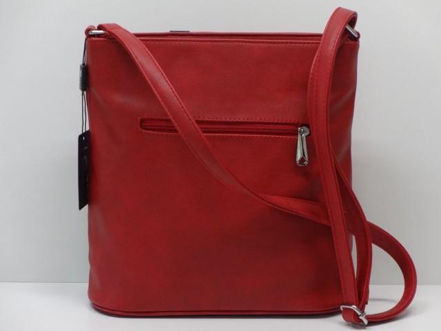 312ba0834353 Női táska, válltáska: piros-fekete (Karen) - Csilla Bőrdíszmű webáruház