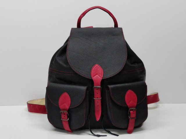 Bőr hátizsák  fekete-piros - Csilla Bőrdíszmű webáruház 42985c749b